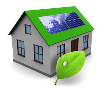 solar house with green leaf