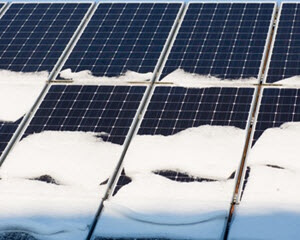 snow covered solar panels in staten island New York